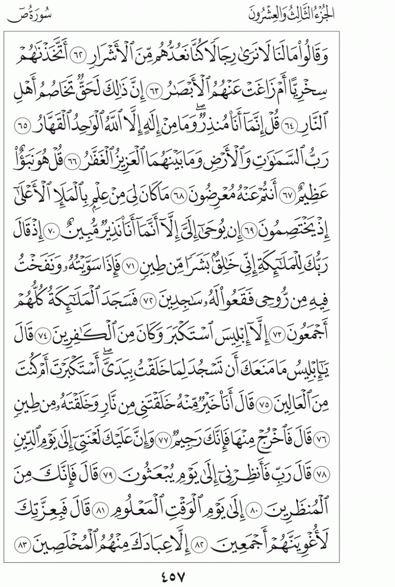 #القرآن_الكريم بالصور و ترتيب الصفحات - #سورة_ص صفحة رقم 457