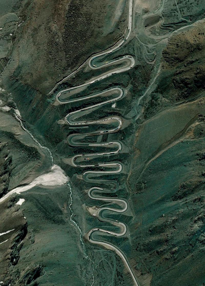 Amazing #Satellite Photos from the #World - Los Caracoles Pass, Andes Mountains - Image 102