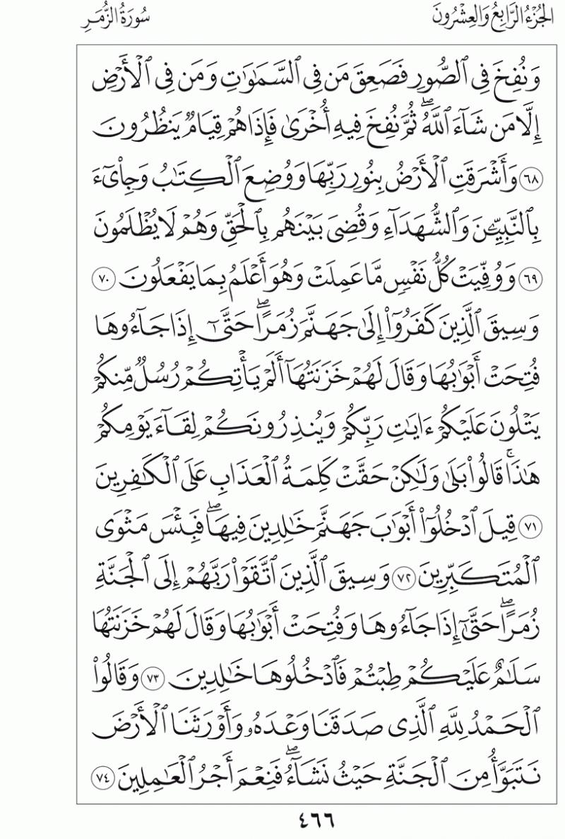 #القرآن_الكريم بالصور و ترتيب الصفحات - #سورة_الزمر صفحة رقم 466
