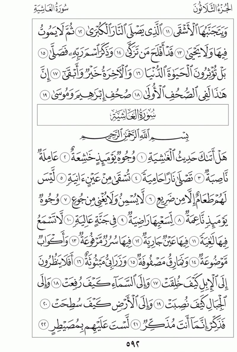 #القرآن_الكريم بالصور و ترتيب الصفحات - #سورة_الغاشية صفحة رقم 592