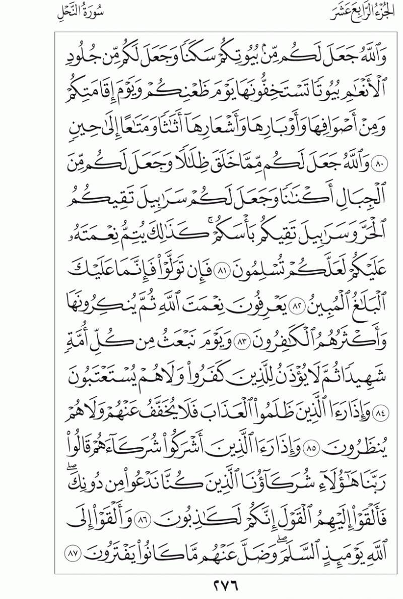 #القرآن_الكريم بالصور و ترتيب الصفحات - #سورة_النحل صفحة رقم 276