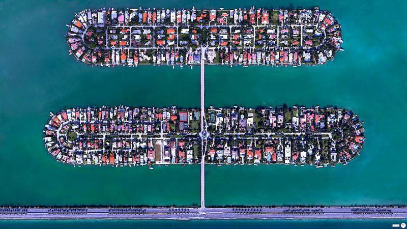 Amazing #Satellite Photos from the #World - Palm Island, Miami Beach, #Florida , #United_States - Image 7