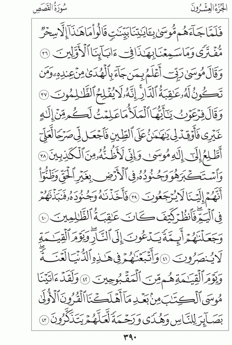 #القرآن_الكريم بالصور و ترتيب الصفحات - #سورة_القصص صفحة رقم 390