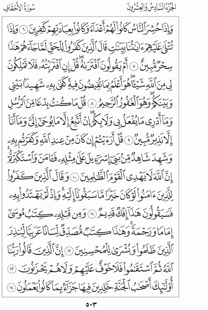 #القرآن_الكريم بالصور و ترتيب الصفحات - #سورة_الأحقاف صفحة رقم 503