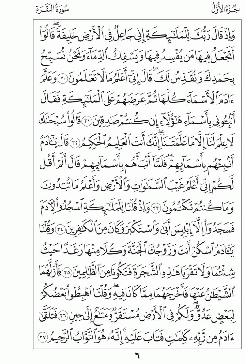 #القرآن_الكريم بالصور و ترتيب الصفحات - #سورة_البقرة صفحة رقم 6