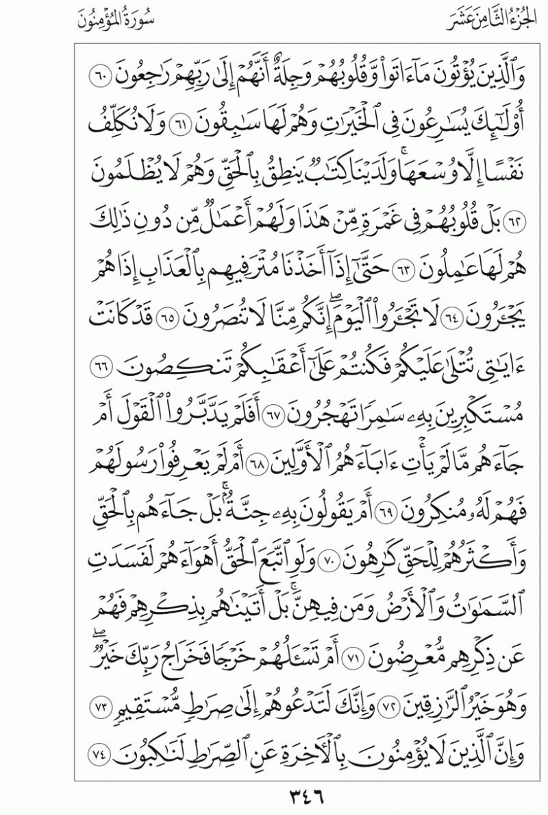 #القرآن_الكريم بالصور و ترتيب الصفحات - #سورة_المؤمنون صفحة رقم 346