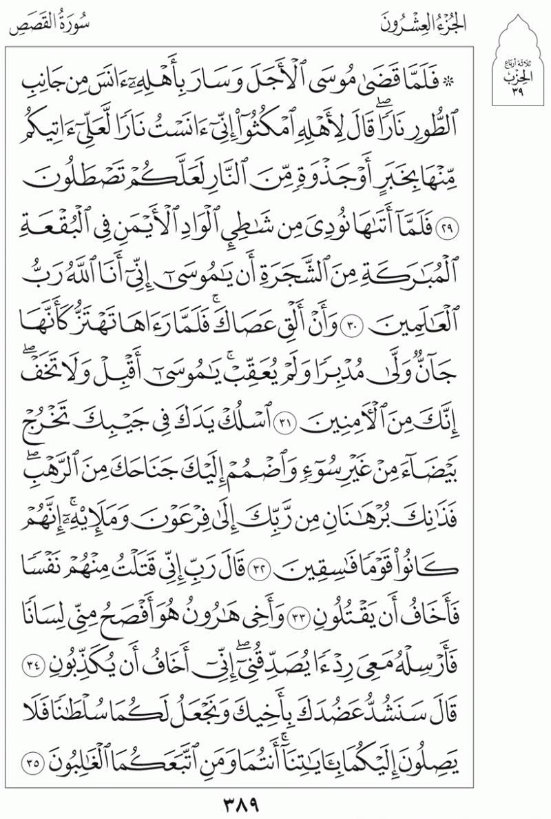 #القرآن_الكريم بالصور و ترتيب الصفحات - #سورة_القصص صفحة رقم 389