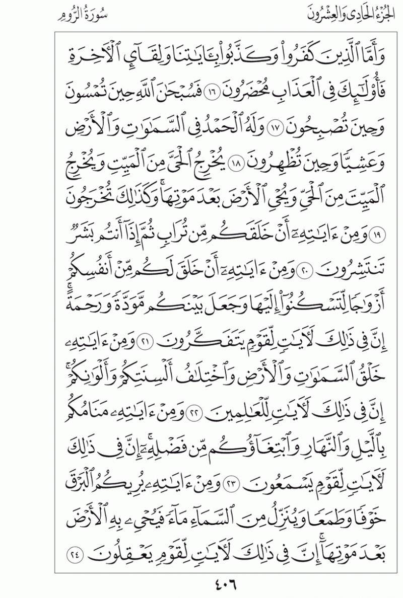 #القرآن_الكريم بالصور و ترتيب الصفحات - #سورة_الروم صفحة رقم 406