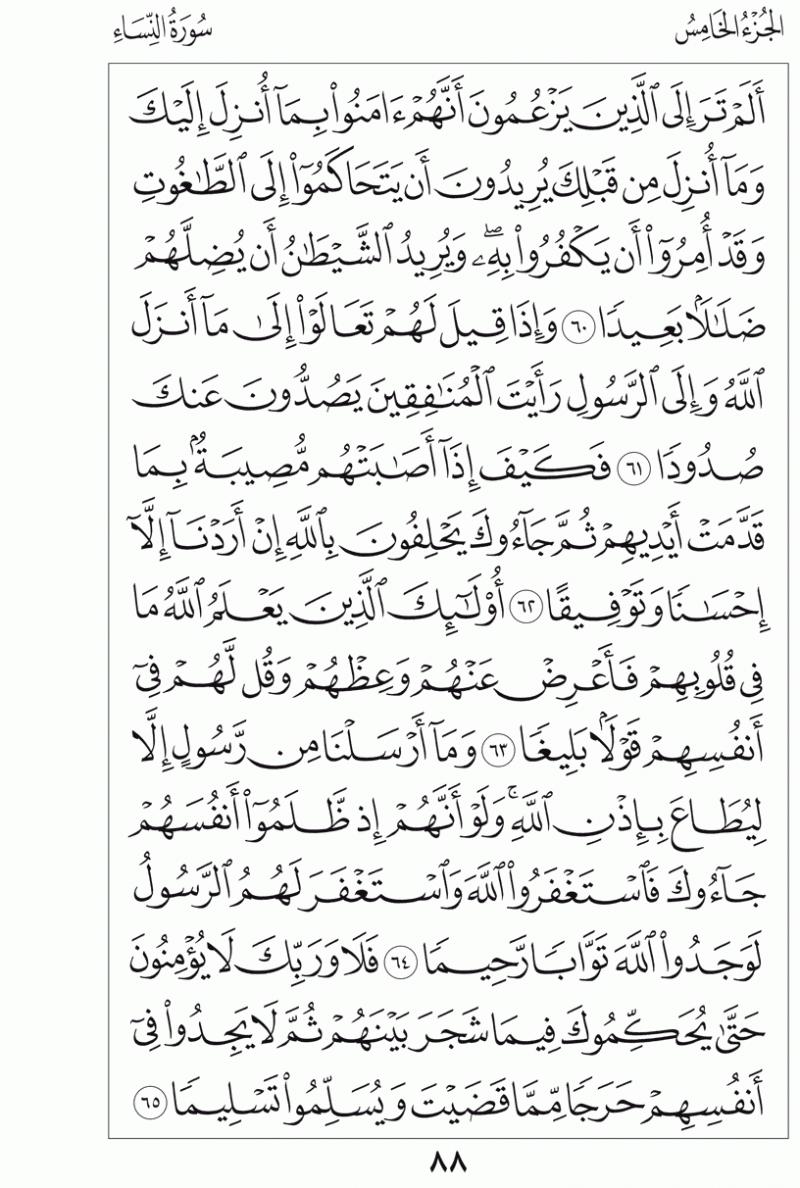 #القرآن_الكريم بالصور و ترتيب الصفحات - #سورة_النساء صفحة رقم 88