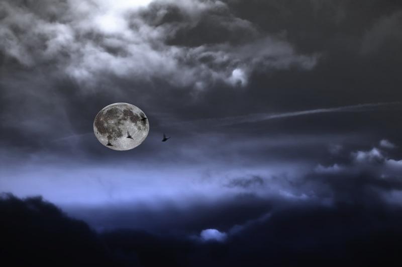 صور لـ #ليل #سماء #اكتمال_القمر #شهر #أسود #أزرق