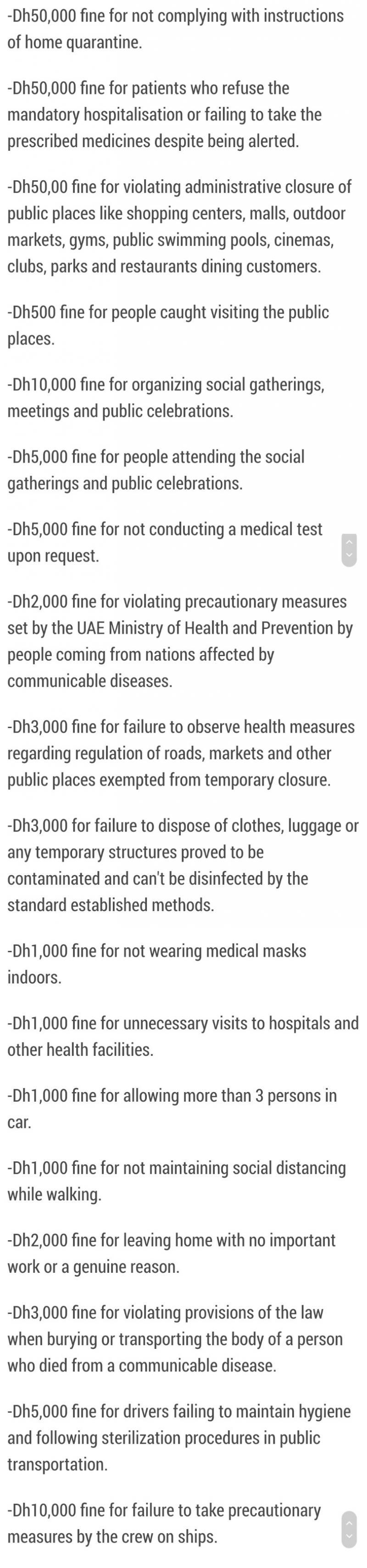 List of Fines in #UAE for Violating #Corona precautions
